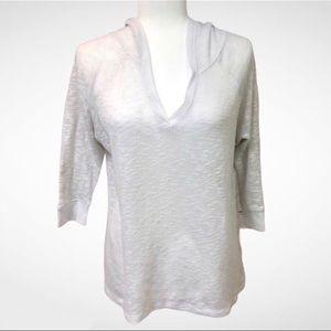 Hollister Knit Sweater Hood V Neck 3/4 Sleeve Sz S